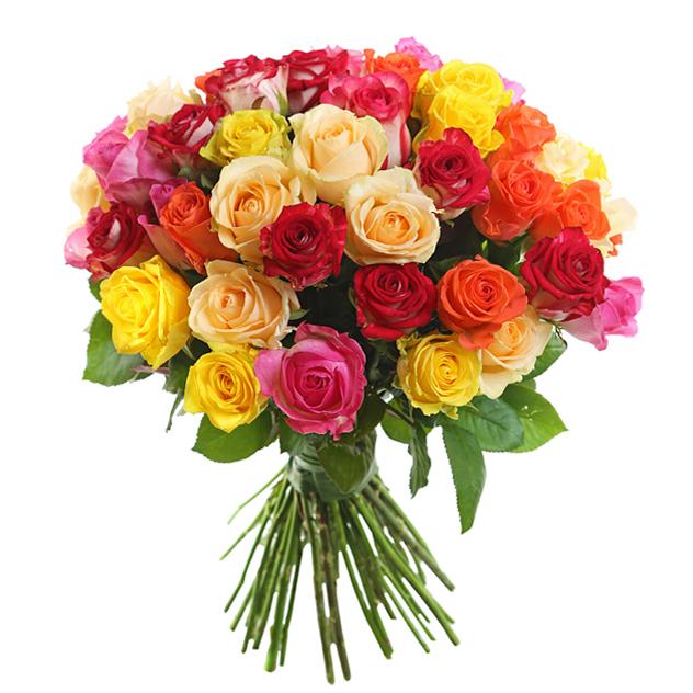 Букет из 51 разноцветной розы